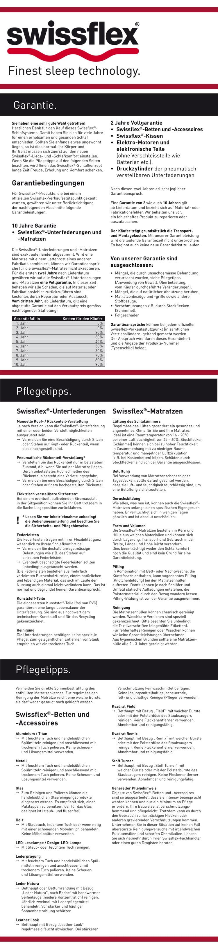 Swissflex Garantie