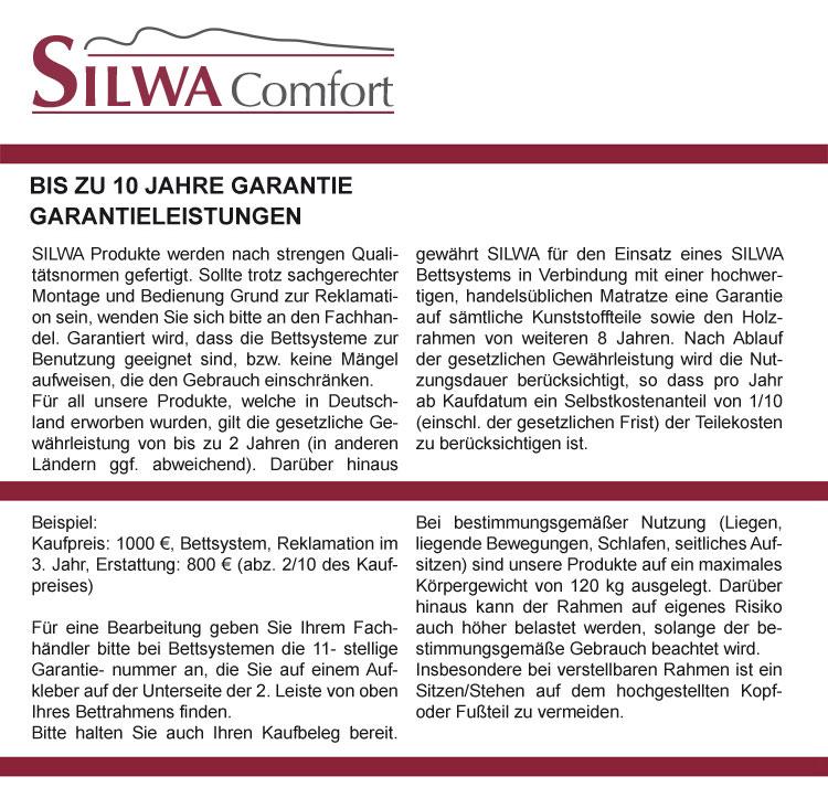 Silwa Comfort Tellerlattenrahmen Garantie