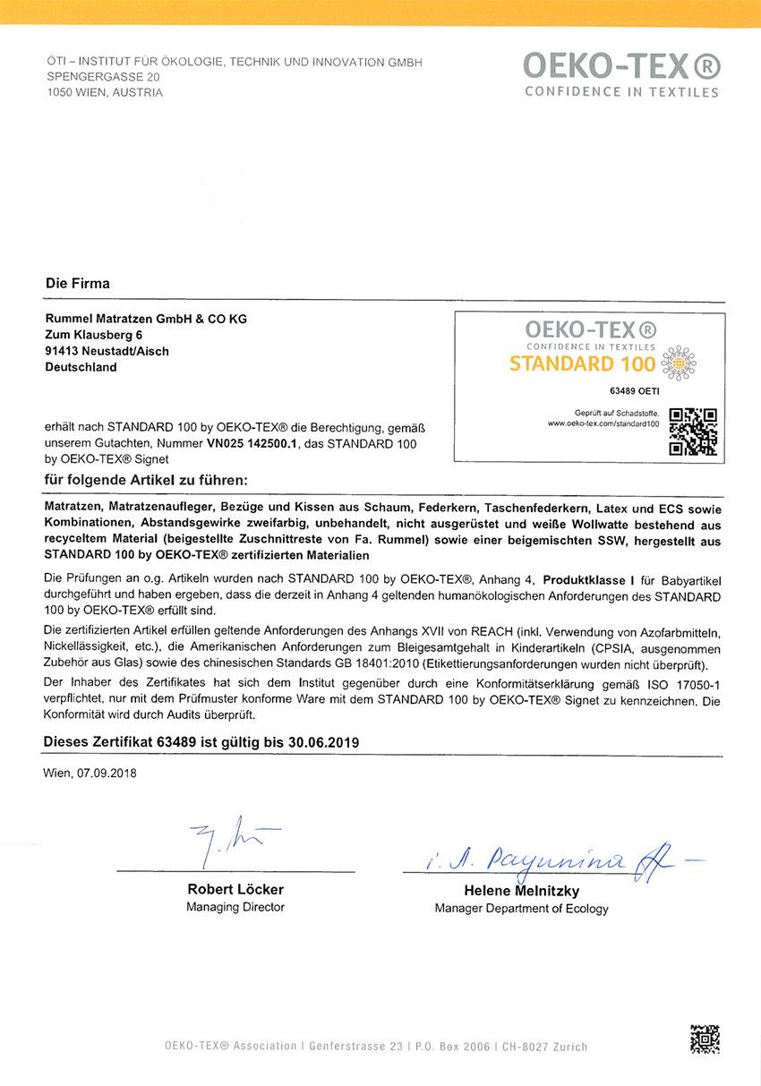 63489 Oeko Tex Standard 100 Zertifikat - Silwa Zertifikate
