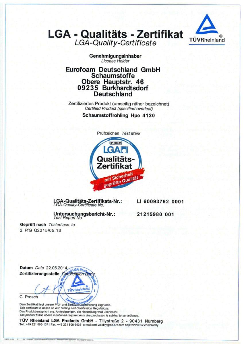 LH 60093792 LGA Qualitaets Zertifikat - Silwa Zertifikate