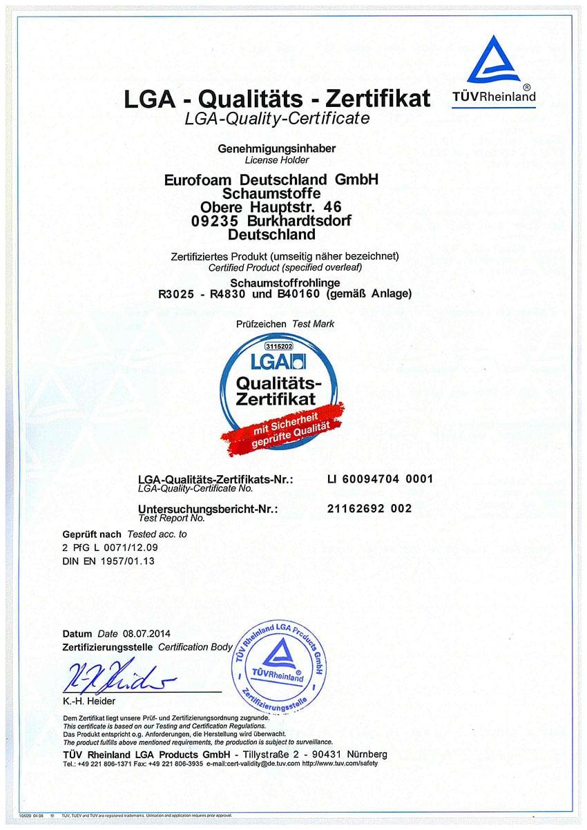 LH 60094704 001 LGA Qualitaets Zertifikat - Silwa Zertifikate