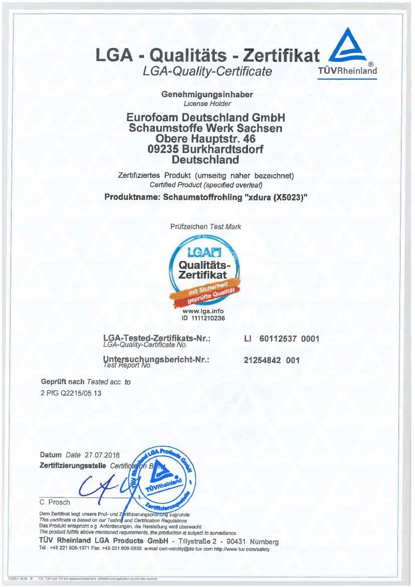 LH 60112537 001 LGA Qualitaet Zertifikat - Silwa Zertifikate
