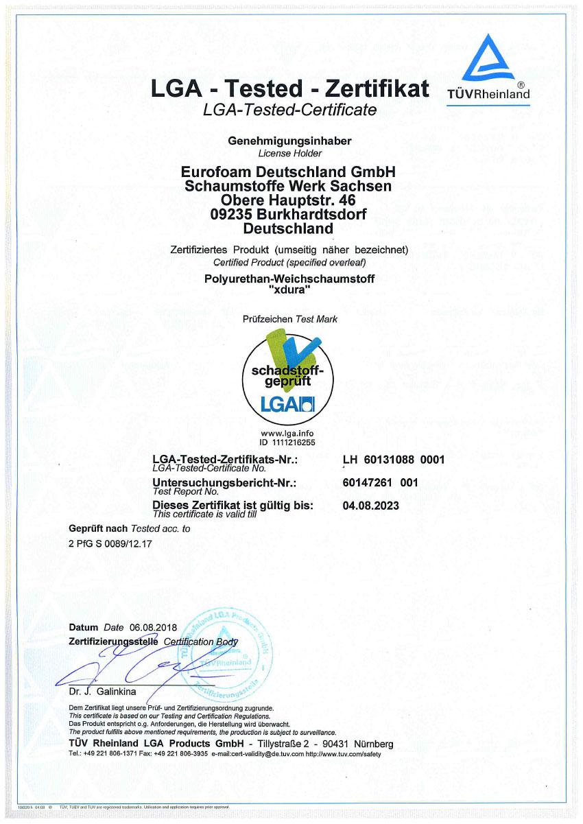 LH 60131088 001 LGA schadstoffgeprueft xdura - Silwa Zertifikate
