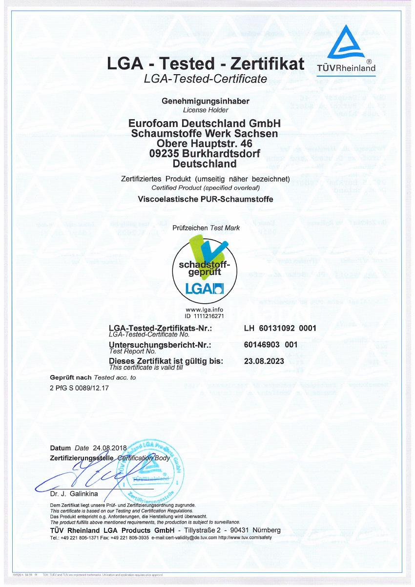 LH 60131092 001 LGA schadstoffgeprueft Visko - Silwa Zertifikate