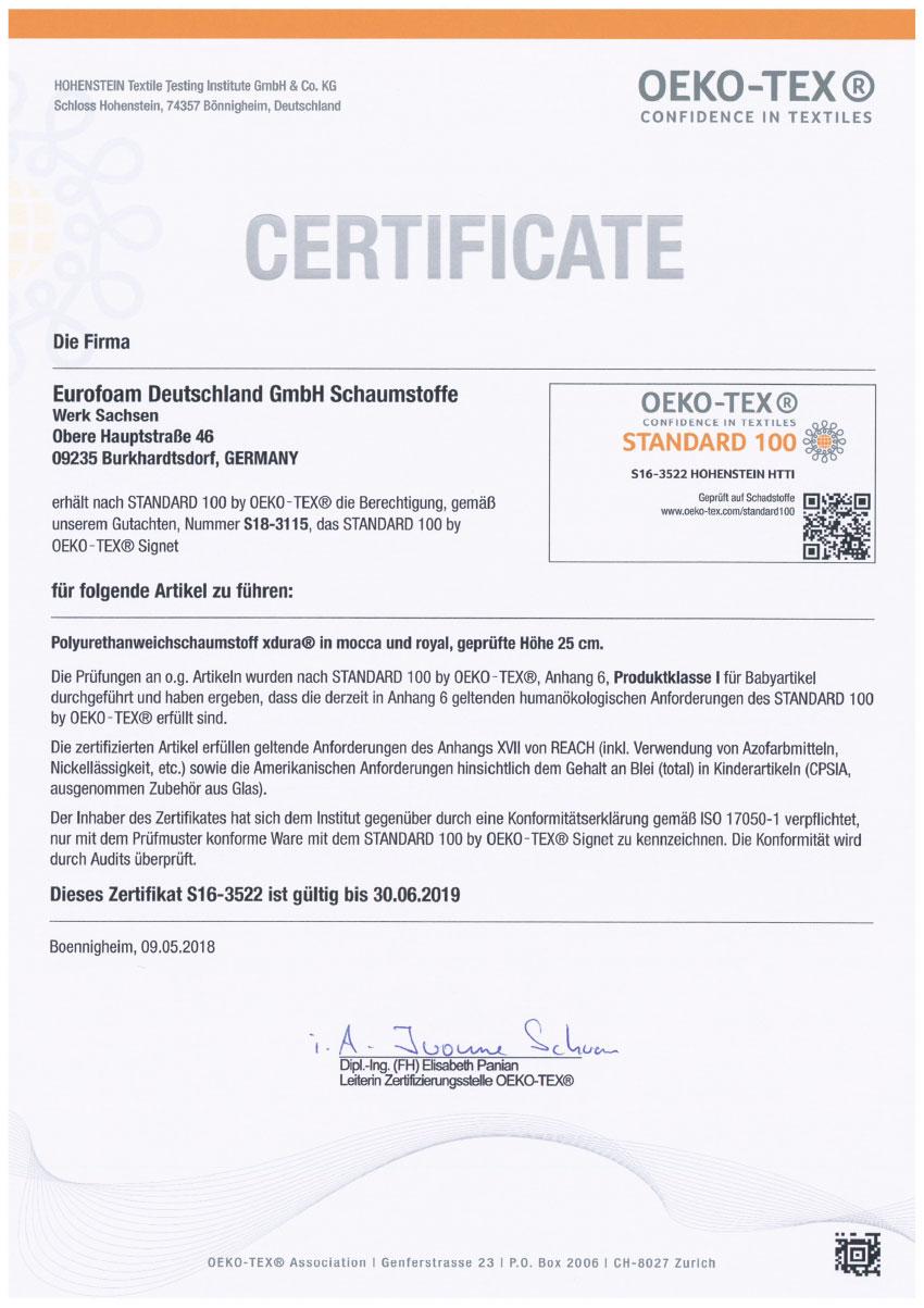 S16 3522 Oeko Tex Standard 100 - Silwa Zertifikate