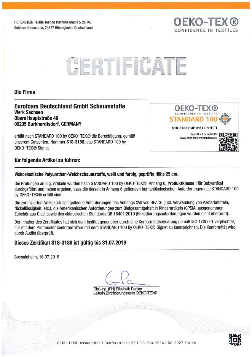 S18 3186 Oeko Tex Standard 100 - Silwa Zertifikate
