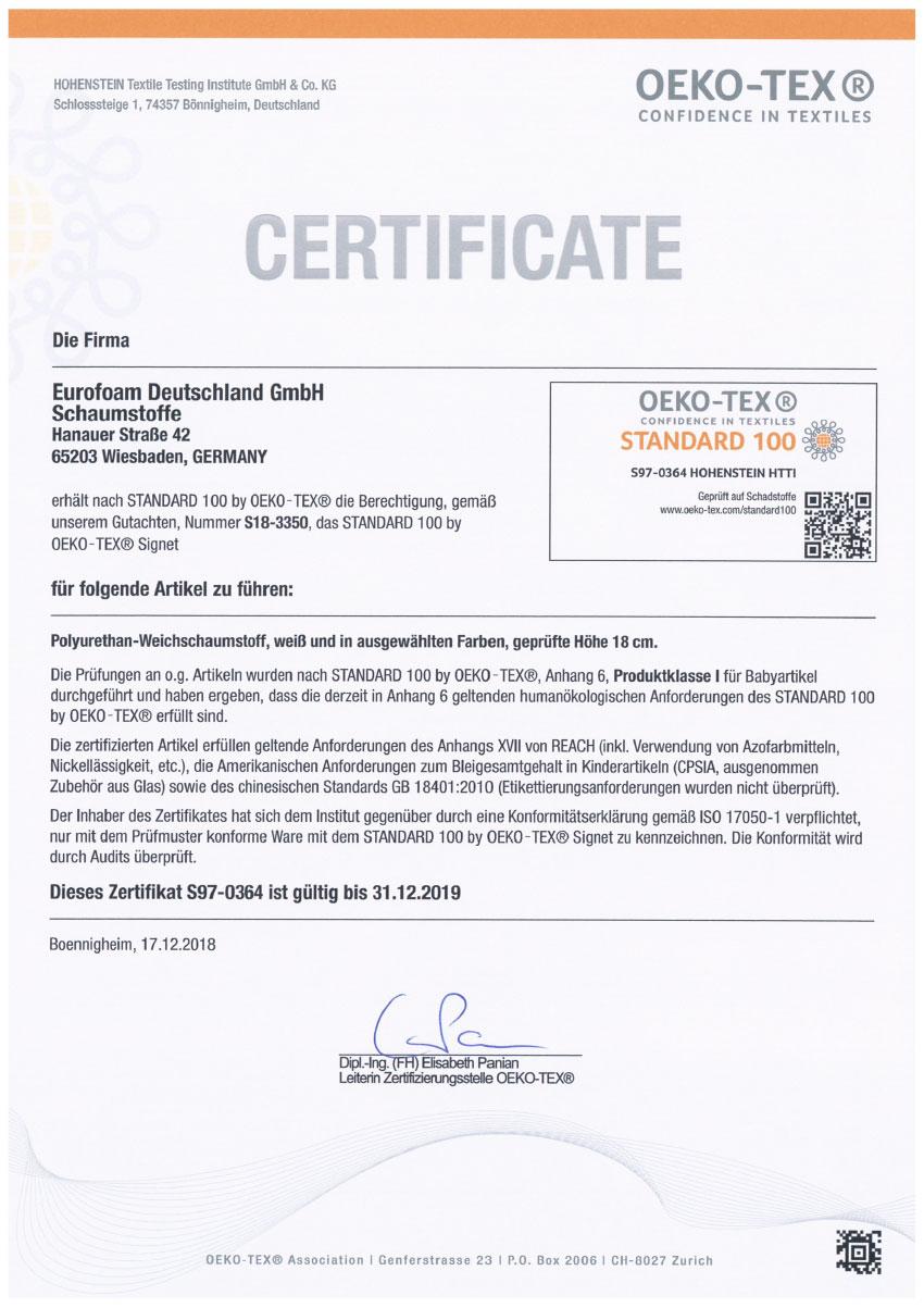 S97 0364 Oeko Tex Standard 100 - Silwa Zertifikate